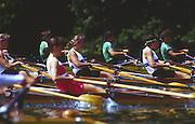 Lucerne, SWITZERLAND. [Heats W4X USA Boston Rowing Centre Women's Quads] at the start of the 1988  Lucerne International Regatta, Lake Rotsee. June 1988 [Mandatory Credit - Peter Spurrier/Intersport Images] 1988 Lucerne International Regatta