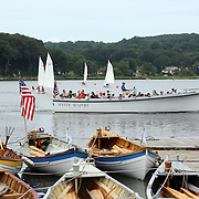 The historic waterfront at Mystic seaport. Mystic, Connecticut. 21st July 2013. Photo Tim Clayton