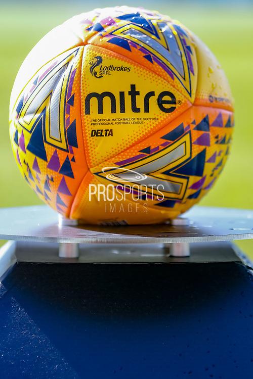 Mitre Delta Ladbrokes sponsored matchball ahead of the Ladbrokes Scottish Premiership match between St Mirren and Dundee at the Paisley 2021 Stadium, St Mirren, Scotland on 30 March 2019.