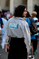 Street style, arriving at Off White Spring-Summer 2019 menswear show held at Palais de Chaillot, in Paris, France, on June 20th, 2018. Photo by Marie-Paola Bertrand-Hillion/ABACAPRESS.COM