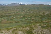 Aerial view over barren high mountain landscape of Padjelanta national park, Lapland, Sweden