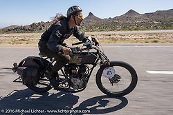Jon Szalay of New Jersey riding his 1913 Thor during the Motorcycle Cannonball Race of the Century. Stage-13 ride from Williams, AZ to Lake Havasu CIty, AZ. USA. Friday September 23, 2016. Photography ©2016 Michael Lichter.