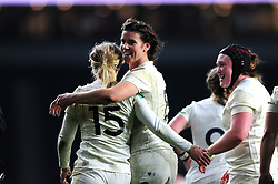 Sarah Hunter of England celebrates team-mate Danielle Waterman's try - Mandatory byline: Patrick Khachfe/JMP - 07966 386802 - 26/11/2016 - RUGBY UNION - Twickenham Stadium - London, England - England Women v Canada Women - Old Mutual Wealth Series.