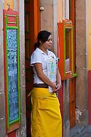 Waitress at restaurant Tasca Paz on Plaza de la Paz, Guanajuato, Mexico