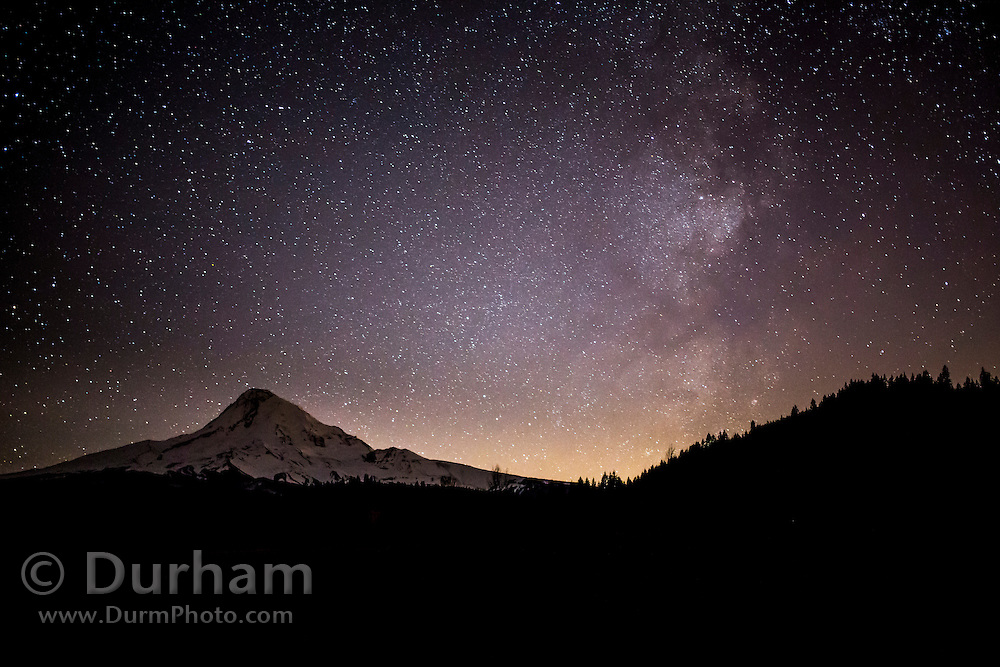 Mount Hood with the milky way in the night sky. Mount Hood National Forest, Oregon.