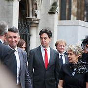 Ed Miliband, leader of the Labour Party. The funeral of Tony Benn at St Margaret's Church Westminster Abbey. Tony Benn was a politician, MP and peace activist fighting for social justice.