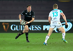 Ospreys' Kieron Fonotia lines up Connacht's Eoin Griffin<br /> <br /> Photographer Simon King/Replay Images<br /> <br /> Guinness PRO14 Round 19 - Ospreys v Connacht - Friday 6th April 2018 - Liberty Stadium - Swansea<br /> <br /> World Copyright © Replay Images . All rights reserved. info@replayimages.co.uk - http://replayimages.co.uk