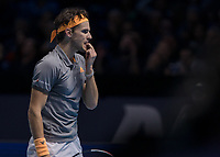 Tennis - 2019 Nitto ATP Finals at The O2 - Day Seven<br /> <br /> Semi Finals: Dominic Thiem (Austria) Vs. Alexander Zverev (Germany)<br /> <br /> Dominic Thiem (Austria) bites his finger as he closes in on a possible victory <br /> <br /> COLORSPORT/DANIEL BEARHAM<br /> <br /> COLORSPORT/DANIEL BEARHAM