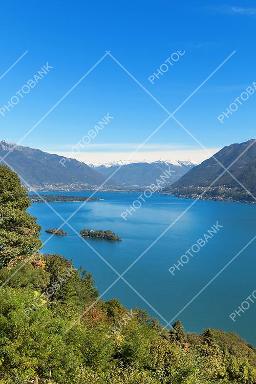 Panoramic of Lake Maggiore in Ticino, Switzerland