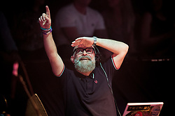 """© Licensed to London News Pictures . 05/02/2016 . Manchester , UK . DJ GRAEME PARK . """" Hacienda Classical """" debut at the Bridgewater Hall . The 70 piece Manchester Camerata and performers including New Order's Peter Hook , Shaun Ryder , Rowetta Idah , Bez and Hacienda DJs Graeme Park and Mike Pickering mixing live compositions . Photo credit : Joel Goodman/LNP"""