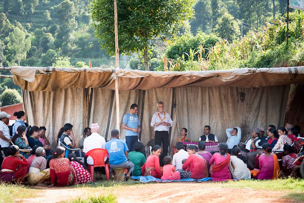 17 September 2018, Kavre district, Nepal: Lutheran World Federation general secretary Rev. Dr Martin Junge visits the village of Biruwa, Kavre district, Nepal. In the Kavre district, the Lutheran World Federation World Service programme runs a Post-Earthquake Rehabilitation and Livelihood Recovery Project. Community members in Biruwa have received support in particular with the reconstruction of homes, and in particular earthquake-resilient constructions.