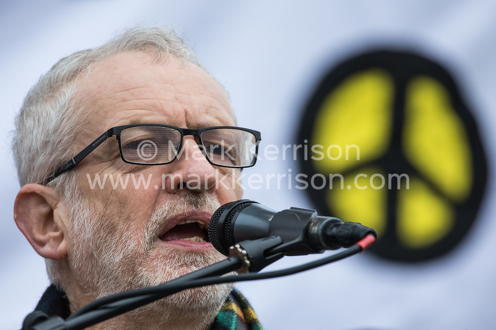 London, UK. 11th January, 2020. Jeremy Corbyn, Leader of the Opposition, addresses the No War on Iran demonstration in Trafalgar Square organised by Stop the War Coalition and the Campaign for Nuclear Disarmament to call for deescalation in the Middle East following the assassination by the United States of Iranian General Qassem Soleimani and the subsequent Iranian missile attack on US bases in Iraq.