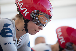 Cecilie Uttrup Ludwig (DEN) of Cervélo-Bigla Cycling Team focuses before starting the Crescent Vargarda - a 42.5 km team time trial, starting and finishing in Vargarda on August 11, 2017, in Vastra Gotaland, Sweden. (Photo by Balint Hamvas/Velofocus.com)