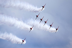 June 24, 2017 - Scarborough, Yorkshire, United Kingdom - The Red Arrows in perfect formation during a display in Scarborough to celebrate UK Armed Forces Day. (Credit Image: © Andrew Mccaren/London News Pictures via ZUMA Wire)