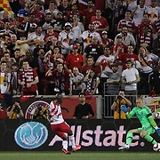 Bradley Wright-Phillips, New York Red Bulls, is denied a hat-trick as  goalkeeper Josh Saunders, NYCFC, saves during the New York Red Bulls Vs NYCFC, MLS regular season match at Red Bull Arena, Harrison, New Jersey. USA. 10th May 2015. Photo Tim Clayton