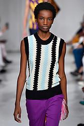 Model Imari Karanja walks on the runway during the Calvin Klein Fashion show at New York Fashion Week Spring Summer 2018 held in New York, NY on September 7, 2017. (Photo by Jonas Gustavsson/Sipa USA)