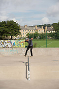 British freestyle snowboarder Billy Morgan at Saughton Skatepark on 27th June 2017 in Edinburgh, United Kingdom.