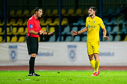 Referee talks to Matej Podlogar of NK Domzale during football match between NK Domzale and NK Maribor in 2nd Round of Prva liga Telekom Slovenije 2020/21, on August 30, 2020 in Športni park Domzale, Slovenia. Photo by Vid Ponikvar / Sportida