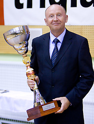Dusan Sesok president of KZS with a cup at finals match of Slovenian 1st Women league between KK Hit Kranjska Gora and ZKK Merkur Celje, on May 14, 2009, in Arena Vitranc, Kranjska Gora, Slovenia. Merkur Celje won the third time and became Slovenian National Champion. (Photo by Vid Ponikvar / Sportida)