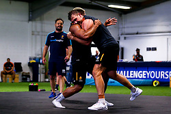 Ashley Beck and Ollie Lawrence of Worcester Warriors during preseason training ahead of the 2019/20 Gallagher Premiership Rugby season - Mandatory by-line: Robbie Stephenson/JMP - 06/08/2019 - RUGBY - Sixways Stadium - Worcester, England - Worcester Warriors Preseason Training 2019