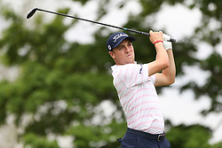 May 30, 2019 - Dublin, OH, U.S. - DUBLIN, OH - MAY 30: Justin Thomas watches his tee shot during the first round of The Memorial Tournament on May 30th 2019  at Muirfield Village Golf Club in Dublin, OH. (Photo by Ian Johnson/Icon Sportswire) (Credit Image: © Ian Johnson/Icon SMI via ZUMA Press)