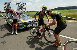 Crash of Matteo TRENTIN of UAE TEAM EMIRATES, Juraj BELLAN of DUKLA BANSKA BYSTRICA during 1st Stage of 27th Tour of Slovenia 2021 cycling race between Ptuj and Rogaska Slatina (151,5 km), on June 9, 2021 in Slovenia. Photo by Vid Ponikvar / Sportida
