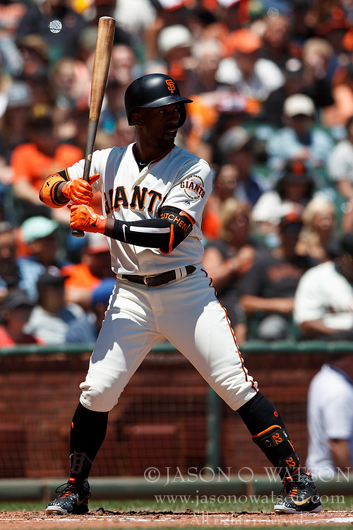 SAN FRANCISCO, CA - JULY 15: Andrew McCutchen #22 of the San Francisco Giants at bat against the Oakland Athletics during the first inning at AT&T Park on July 15, 2018 in San Francisco, California. The Oakland Athletics defeated the San Francisco Giants 6-2. (Photo by Jason O. Watson/Getty Images) *** Local Caption *** Andrew McCutchen