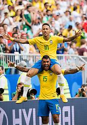 July 2, 2018 - Samara, Russia - NEYMAR and PAULINHO of Brazil celebrate the 1-0 goal during the FIFA World Cup round of 16 match between Brazil and Mexico In Samara.  (Credit Image: © Petter Arvidson/Bildbyran via ZUMA Press)