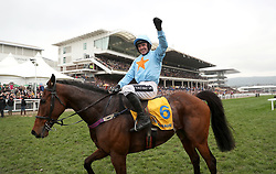 Jockey Ruby Walsh on Un De Sceaux celebrates winning the Ryanair Chase during St Patrick's Thursday of the 2017 Cheltenham Festival at Cheltenham Racecourse.