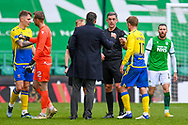 Hibernian FC manager, Jack Ross speaks with Referee Greg Aitken after the final whistle of the SPFL Premiership match between Hibernian and St Johnstone at Easter Road Stadium, Edinburgh, Scotland on 1 May 2021.