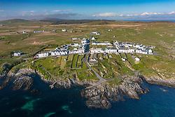 Aerial view of village of Port Wemyss on Rhinns of Islay on Islay , Inner Hebrides, Scotland UK