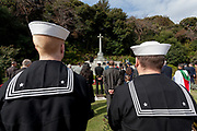 United States Navy sailors at the  Remembrance Sunday ceremony at the Hodogaya, Commonwealth War Graves Cemetery in Hodogaya, Yokohama, Kanagawa, Japan. Sunday November 11th 2018. The Hodagaya Cemetery holds the remains of more than 1500 servicemen and women, from the Commonwealth but also from Holland and the United States, who died as prisoners of war or during the Allied occupation of Japan. Each year officials from the British and Commonwealth embassies, the British Legion and the British Chamber of Commerce honour the dead at a ceremony in this beautiful cemetery. The year 2018 marks the centenary of the end of the First World War in 1918.