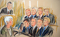 ©PRISCILLA COLEMAN ITV NEWS 23.05.05.SUPPLIED BY: PHOTONEWS SERVICE LTD OLD BAILEY.PIC SHOWS: (TOP ROW L-R) ROBERT THAME, NICK WOOD, ANDREW ELLIOT  AND DAVID REDVERS. (BOTTOM ROW L-R) LUKE TOMLINSON, RICHARD WAKEHAM, JOHN HOLIDAY, AND OTIS FERRY. THE PRO-HUNT SUPPORTERS ARE ON TRIAL AT BOW STREET MAGISTRATES COURT FOR DISORDERLY CONDUCT AFTER THEY STORMED THE COMMONS CHAMBERS IN SEPTEMBER LAST YEAR. SEE STORY.ILLUSTRATION: PRISCILLA COLEMAN ITV NEWS