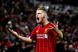 Harvey Elliott of Liverpool celebrates Divock Origi of Liverpool scoring a goal to make it 5-5 - Mandatory by-line: Robbie Stephenson/JMP - 30/10/2019 - FOOTBALL - Anfield - Liverpool, England - Liverpool v Arsenal - Carabao Cup
