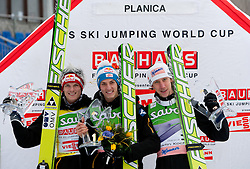 Second placed Thomas Morgenstern of Austria, Winner Gregor Schlierenzauer of Austria and Third placed Martin Koch of Austria at flower ceremony at Flying Hill Individual at 2nd day of FIS Ski Jumping World Cup Finals Planica 2011, on March 18, 2011, Planica, Slovenia. (Photo by Vid Ponikvar / Sportida)