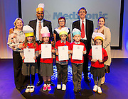 Castleblakeney pupils  with their Certificates for the participation at the Medtronic Junior FIRST LEGO League challenge with teachers  Nuala Cunningham, Mc Paul Sneem , Medtronic's Caroline Healy and Medtronic's Martin Conroy and teacher Anna Maher at the Radisson Blu Hotel Galway. This is the second year The Galway Education Centre has hosted this competition - one of only six countries in the world who do so. Following the success of last year, over 500 school children from all over the country are expected to come along and practice their robotics, presentation and teamwork skills live on the night!. .Bernard Kirk, Director of The Galway Education Centre says; ?Working on this three day event every year is fun and exciting and always surprising. The talent, instinct and drive we discover in these young children is an inspiration to all of us. We look forward to the continued success of all of our challenges which would not be possible without the support of companies like Medtronic, SAP, HP and LEGO?. Photo:Andrew Downes
