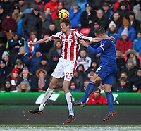 Stoke City's Peter Crouch in action with Everton's Phil Jagielka<br /> <br /> Photographer Mick Walker/CameraSport<br /> <br /> The Premier League - Stoke City v Everton - Saturday 17th March 2018 - bet365 Stadium - Stoke<br /> <br /> World Copyright © 2017 CameraSport. All rights reserved. 43 Linden Ave. Countesthorpe. Leicester. England. LE8 5PG - Tel: +44 (0) 116 277 4147 - admin@camerasport.com - www.camerasport.com