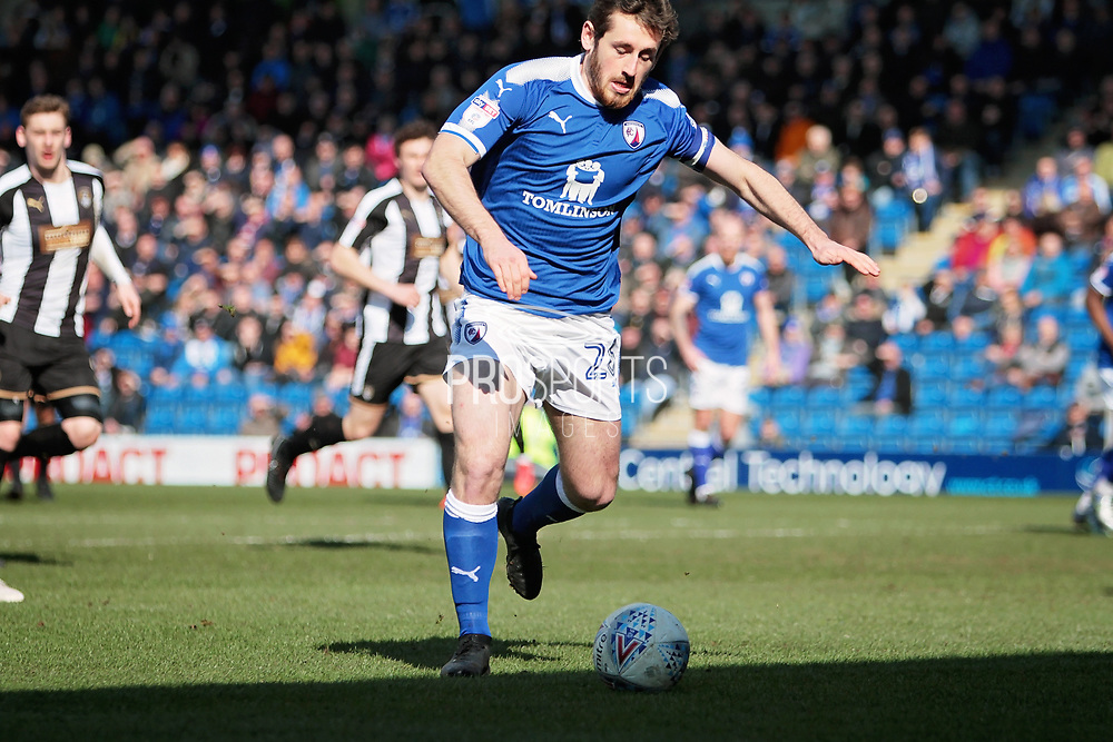 Chesterfield midfielder Jak McCourt (26) gets in a shot during the EFL Sky Bet League 2 match between Chesterfield and Notts County at the Proact stadium, Chesterfield, England on 25 March 2018. Picture by Nigel Cole.