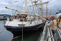 Tenacious, Southampton registered 3-rigged wooden built barque moored in Belfast, N Ireland, UK, after its Atlantic Crossing and participation in the Belfast Maritime Festival. 200908132967.<br />