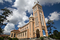 Built in 1931, Dalat cathedral is the largest church in the city of Dalat..It is known as the rooster church because on the top of the tower a bronze rooster weathervane was installed.  The cathedral's numerous stained glass windows were hand made in Grenoble, France by the Louis Balmet workshop.