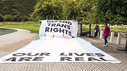 Pictured: <br />Vic Valentine and Becky Kaufmann from Scottish Trans Alliance were outside the Scottish Parliament from Tuesday to Thursday to highlight what they describe as a major threat to trans people's rights. The focus of the protest is on attempts to change the basis of the next census in. 2021<br /><br />Ger Harley | EEm Date