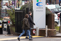 © Licensed to London News Pictures. 15/01/2018. The scene outside Carillion Headquarters in Salop Street, Wolverhampton this lunchtime as workers learn of the companies collapse. Pictured, employees leaving the building. Photo credit: Dave Warren/LNP