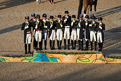 Team podium<br /> Team Germany, Werth Isabell, Schneider Dorothee, Rothenberger Sonke, Broring-Sprehe Kristina, GER<br /> Team Great Britain, Bifwood Fiona, Dujardin Charlotte, Hester Carl, Wilton Spencer, GBR<br /> Team USA, Brock Alison, Perry-Glass Kasey, Peters Steffen, Graves Laura, USA<br /> Olympic Games Rio 2016<br /> © Hippo Foto - Dirk Caremans<br /> 12/08/16