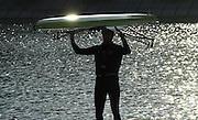 2005 FISA Team Cup, Rio Guadalquiver Rowing Course, Seville, SPAIN, 19.02.2005. Training Day; Tom Stallard .Photo  Peter Spurrier. .email images@intersport-images... Sunrise, Sunsets, Silhouettes