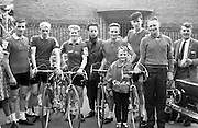 The Cork team which started in the 8 day Rás Tailteann.  From left are Kevin O'Brian; Michael Stack; Tom Pratt; John Aher, Team Manager; John Brislane; Pat Reidy, Team Coach, and his son Billy.<br /> 05.07.1964