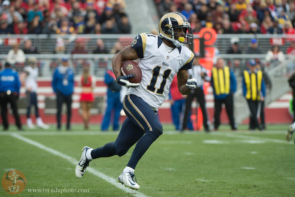 January 3, 2016; Santa Clara, CA, USA; St. Louis Rams wide receiver Tavon Austin (11) runs with the football during the second quarter against the San Francisco 49ers at Levi's Stadium. The 49ers defeated the Rams 19-16.