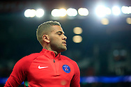 Paris Saint Germain's Brazilian defender Dani Alves warms up before the UEFA Champions League, Group B football match between Paris Saint-Germain and Bayern Munich on September 27, 2017 at the Parc des Princes stadium in Paris, France - Photo Benjamin Cremel / ProSportsImages / DPPI