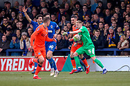 AFC Wimbledon goalkeeper Aaron Ramsdale (35) battles for possession during the The FA Cup 5th round match between AFC Wimbledon and Millwall at the Cherry Red Records Stadium, Kingston, England on 16 February 2019.
