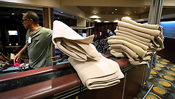 Blankets are distributed for evacuees from Freeport, Bahamas, onboard the Royal Caribbean's Mariner of the Seas cruise ship after it arrived in Freeport, Bahamas, on Saturday, September 7, 2019. Photo by Joe Burbank/Orlando Sentinel/TNS/ABACAPRESS.COM
