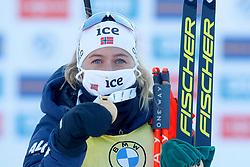 Tiril Eckhoff of Norway celebrates at medal ceremony during the IBU World Championships Biathlon Women Pursuit competition on February 14, 2021 in Pokljuka, Slovenia. Photo by Primoz Lovric / Sportida